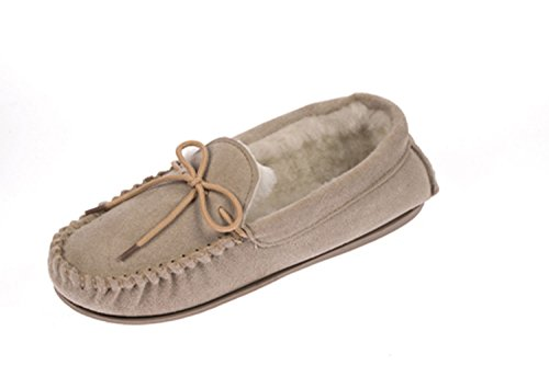 Womens Lodgemok SUEDE LEATHER Moccasins REAL WOOL Shoe Slippers Size 3 4 5 6 7 8 Beige f5QLmm9tx