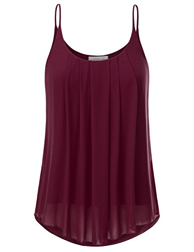 Layered Chiffon (JJ Perfection Women's Pleated Chiffon Layered Cami Tank Top Burgundy L)