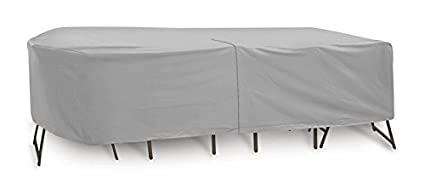 Protective Covers Weatherproof Patio Table and Chair Set Cover, 60 inch x 66 inch, Oval/Rectangle Bar Table, Gray