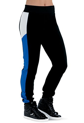 Balera Joggers Girls Pants For Dance With Color Block Side Slim Fit Bottoms Black/Royal Adult Medium from Balera