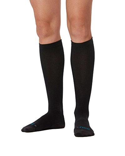 2XU Women's 24/7 Compression Socks, Black/Black, Medium