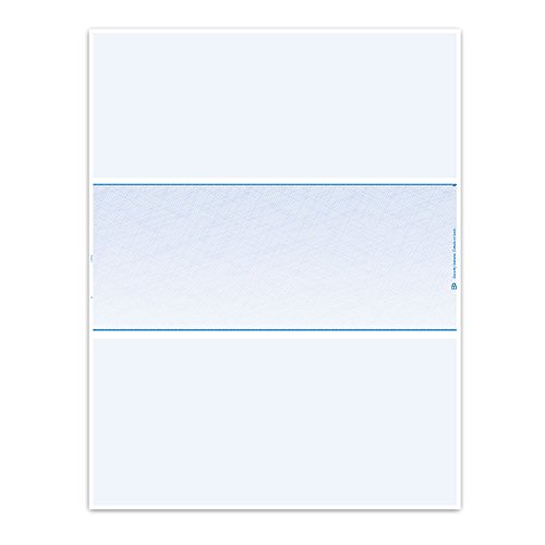 Blank Laser Checks - 250 - Middle Position Blue Quickbooks/Quicken Compatible