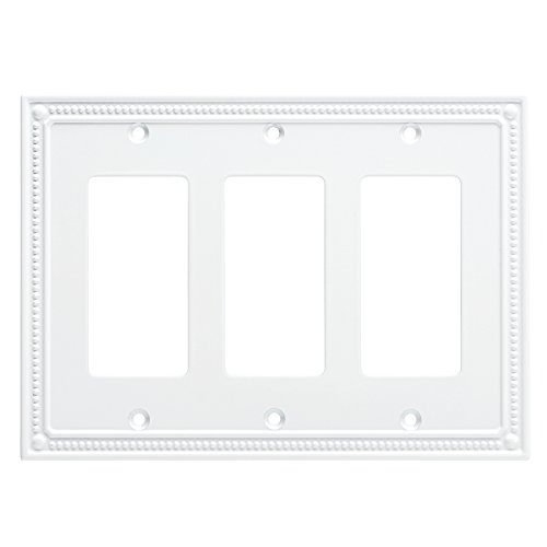 Brass Decorator Solid (Franklin Brass W35067-PW-C Classic Beaded Triple Decorator Wall Plate/Switch Plate/Cover, White)