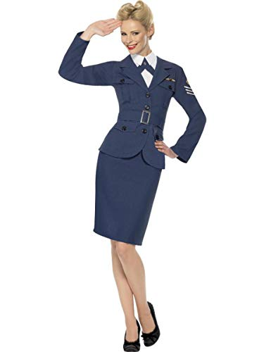 Fest Threads 4 PC Women's WWII Air Force Military Jacket & Skirt w/Accessories Party Costume Blue ()