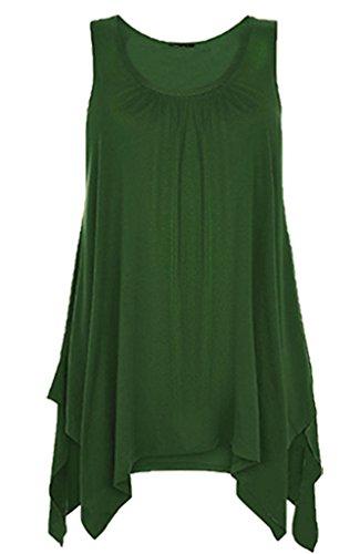 casacca donna 26 increspato a donna F4u 8 a vivo fazzoletto Top da e orlo unisex taglio Bottle Canotta orlo Green da punta w86Hax