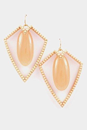Peach Oval Beads - Karmas Canvas Oval Stone with Beads Framed Earring (Peach)