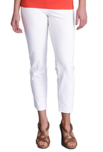 Eileen Fisher womens SLIM ANKLE PANT W/YK in White size XLRG