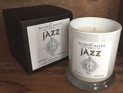 BATHING RAVEN Jazz - The New Orleans Collection Scented Soy 8 oz Gift Boxed Jar Candles (Boxed 8 Jar Ounce)