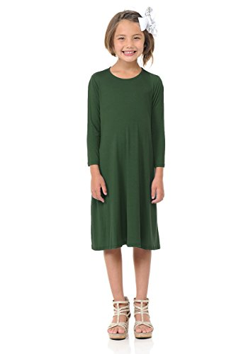 Pastel by Vivienne Honey Vanilla Girls' Trapeze Dress with Easy Removable Label Small 5-6 Years Olive -