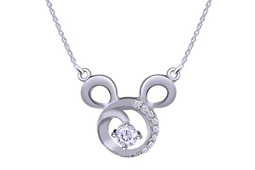Wishrocks Round Simulated Cubic Zirconia Mickey Mouse Icon Swirl Necklace Pendant 14k White Gold Over Sterling Silver.