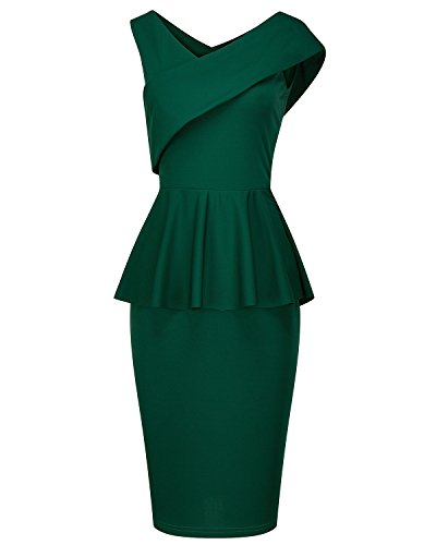 Dinner 1950 (Tempt Me Womens Vintage 1950s V Neck Sleeveless Peplum Cocktail Slim Pencil Bodycon Party Dress Green X-Large)