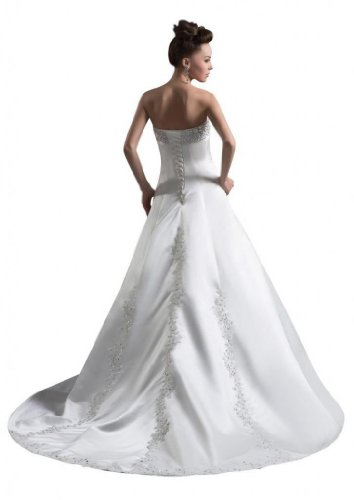 White Tulle Wedding Women's A Strapless Dresses Court Line Dearta Train HROfqPHw