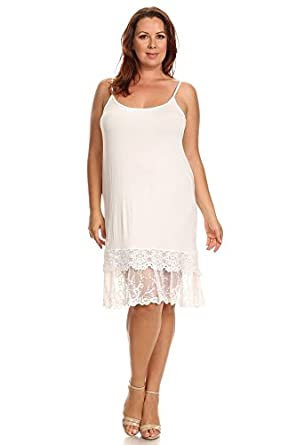 Fashionomics Womens LACE Trim Solid Slip Extender with Adjustable Strap