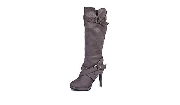 RBNB-bottes femme - Botas de Piel Lisa Mujer 35 EU gris: Amazon.es ...