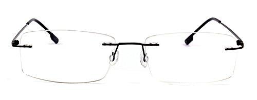Agstum Titanium Alloy Flexible Rimless Hinged Frame Prescription Eyeglasses Rx (Black, - Rimless Flexible Eyeglasses