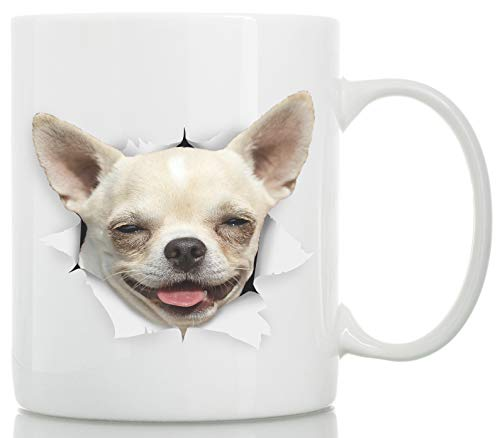 Happy Chihuahua Mug - Ceramic Chihuahua Coffee Mug - Perfect Chihuahua Gifts - Funny Cute Chihuahua Dog Coffee Mug for Dog Lovers (11oz)]()