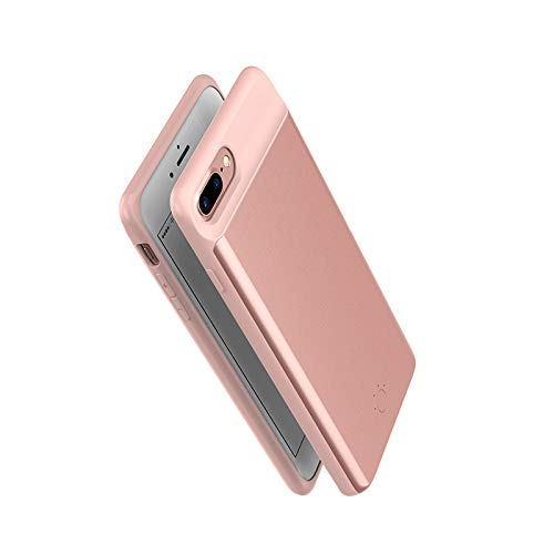Rose Gold E-Spark External Battery Charger Cases for iPhone 8 7 6 6s Power Bank Cases 5000mAh 4.7 inch Portable Slim Universal Clip Charger Magnet Phone Holder Wireless Power Bank Cover