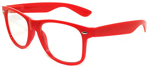 Retro 80's Vintage Sunglasses with Clear Lens Red Color Frame - Glasses Red Fashion