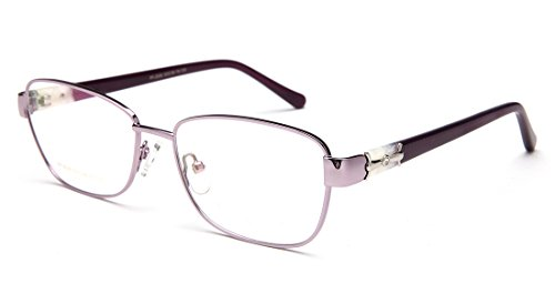 Laura Fairy Color Block Stainless Steel Women Eyeglasses Optical Frame with Rhinestone - Stainless Frames Eyeglass Steel