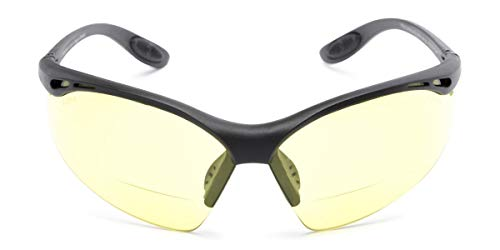 Readers.com The Clark Night Driving Safety Glasses with Bifocal Readers, Unisex Half Frame Wrap Around Yellow Lens Sunglasses for Men and Women, ANSI z87.1 Safety Glasses, Black + 1.50