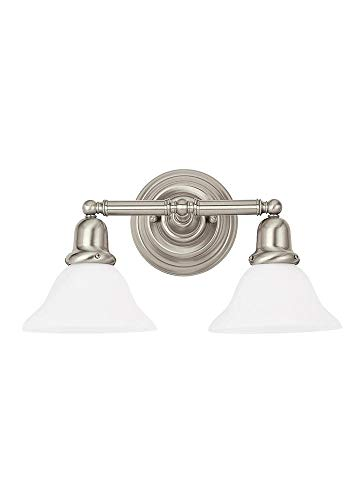 Sea Gull Lighting 44061EN3-962 Sussex Two Light Wall/Bath Vanity Style Lights, Brushed Nickel - Bath Two Sussex Light