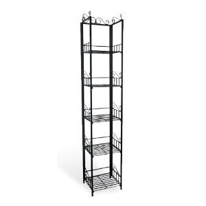 Amazoncom 5 Tier Book Case Cd Rack Shelf Unit Black Metal 6176 Bk