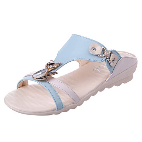 ◕‿◕Water◕‿◕ Women's Beach Slipper, Ladies Wedges Crystal Slipper Sandals Outdoor Rhinestone Hollow Slipper Bohemian Sandals Light Blue Bulldogs Ladies Black Rhinestone