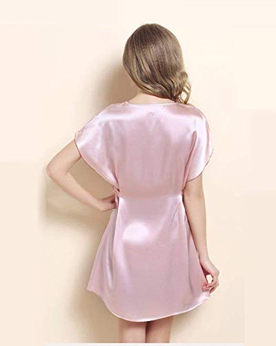 Nightgown Silk Mode Forever Ladies Pink Dusky Warm Pijama Angel Envío Pure Gratis Chemise Night Marca Shawl De Manga Corta StwPIP