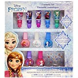 Townley Girl Disney Themed Super Sparkly Cosmetic Set with Lip Gloss, Polish and Nail Stickers (Frozen) ()