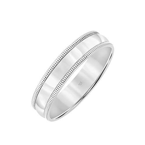 Brilliant Expressions .925 Sterling Silver Domed High-Polish Wedding Band with Coin Edge, 5mm, Size 11