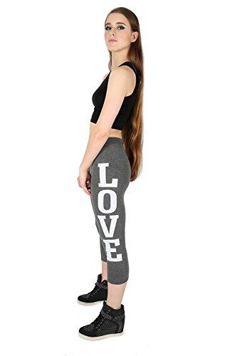Oops Outlet Femmes LOVE JUST DID IT BROOKLYN 76 NEW YORK 98 imprimé coupe serré 3/4 Longueur Leggings Extensible - Love Noir/Rose Néon, Grande taille (EU 44/46)