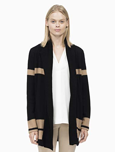 Calvin Ribbed Klein Cardigan (Calvin Klein Women's Colorblock Cardigan with Ribbed Trim, Black/Vicuna, L)