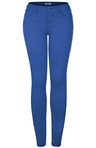 - 2LUV Women's Stretchy 5 Pocket Skinny Jeans Royal Blue 1 (G603A)