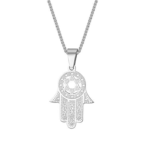 Silver Amulet Hand of Fatima Charm Unisex Bohemian Jewelry Stainless Steel Star of David Hamsa Hand Pendant Necklace Gifts for Men Women