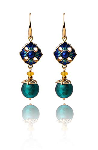 ANDANTINO Women's 14K Gold Plated Ethnic Piercing Earrings Retro Style Jewelry, Handcrafted Temperament Vintage Ear Hook- Long Dangle Ear Drop for Girls (Floral Colored Glaze Agate Ear Drop) (Colored Flower Dangle Earrings)