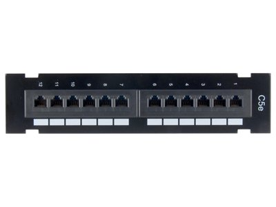 CAT5E Patch Panel - 12 Port, 1U, Wall Mount (Patch 568b)