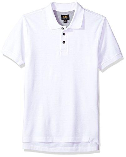 LEE Men's Polo Shirt Short Sleeve Big Tall Regular, White, 4X -