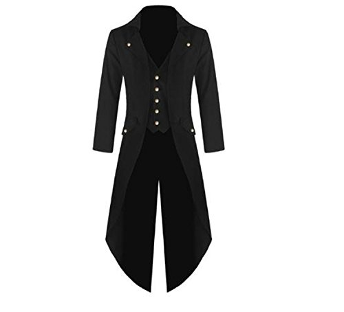 Victorian Frock Coat Costume (JoyeArt Men's Steampunk Vintage Tailcoat Jacket Gothic Victorian Frock Black Steampunk Coat Uniform Costume)