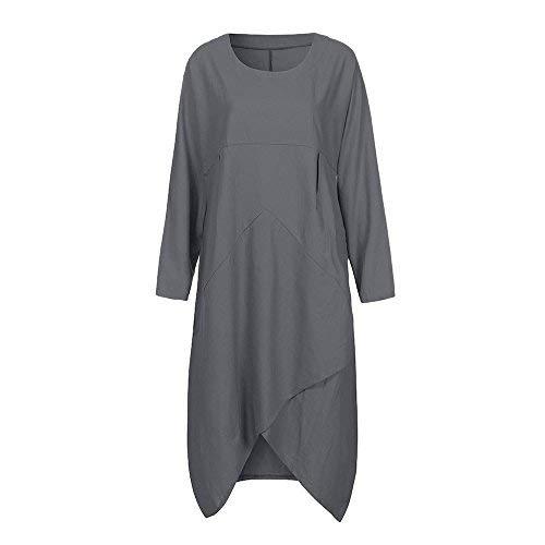 VESNIBA Women Vintage Long Sleeve Tunic Baggy Long Maxi Dress Plus Size by VESNIBA