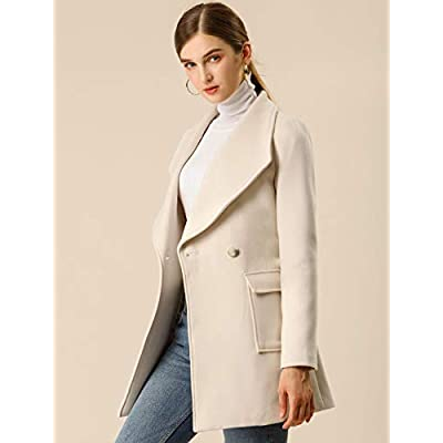 Allegra K Women's Shawl Collar Lapel Winter Belted Coat with Pockets: Clothing
