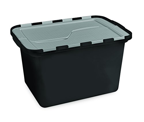 HOMZ 12 Gallon Eco Storage Flip Tote, Black Base, Silver Lid-4 Pack
