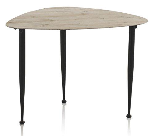 GEESE 7887 - Mesa de centro de madera y metálica, 46 x 58 x 40 cm, color natural