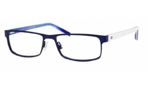 Tommy Hilfiger 1127 Eyeglasses-04XR Matte Blue/Blue Red White - Tommy Glasses Prescription Hilfiger