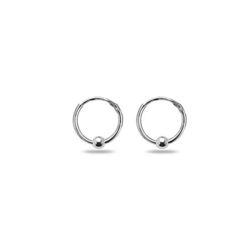 (Sterling Silver Ball Bead Small Endless 10mm Lightweight Thin Round Unisex Hoop Earrings)