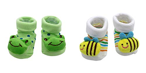 New Cute Baby Socks Kermit The Frog Theme & Honey Bee 2-Pack 3-12 Months w/Gift -