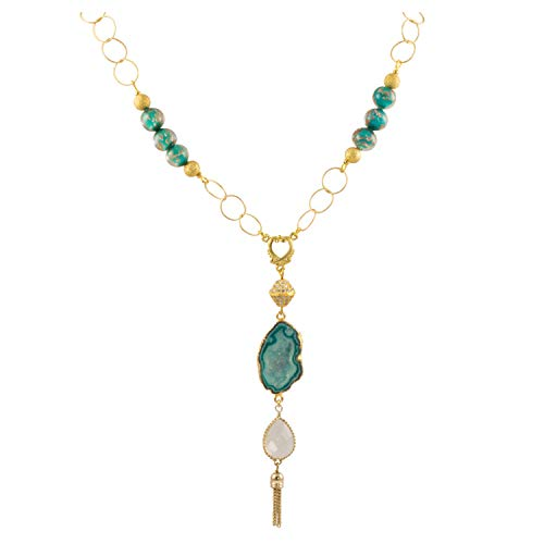 (Just Give Me Jewels Gold Plated Murano Glass Bead Chain with Aqua Drusy Quartz Geode Slice with Tear Drop Crystal Tassel Pendant Sweater Necklace)