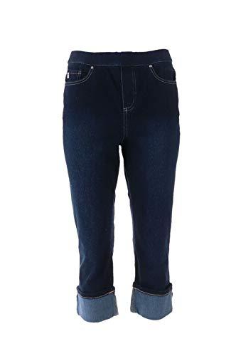 Belle Kim Gravel Flexibelle Cuffed Capri Jeans Dark Indigo 26W New A305595 from Belle by Kim Gravel