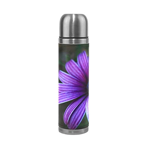 OuLian Thermos Purple Daisy Cycling Insulated Stainless Steel Water Bottle Leak Proof Thermos Leather Cover 17 Oz (Stanley 24 Oz Utility Ss Water Bottle)