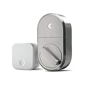 August Smart Lock + Connect Wi-Fi Bridge, Satin Nickel, Works with Alexa. Keyless Home Entry from Anywhere Doors
