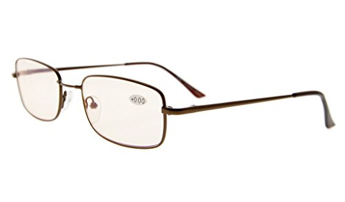 Eyekepper Computer Readers Bridge-flex Memory Titanium Mens Womens Spring Hinges Computer Reading Glasses Brown(Amber Lens, - Glasses Bridge